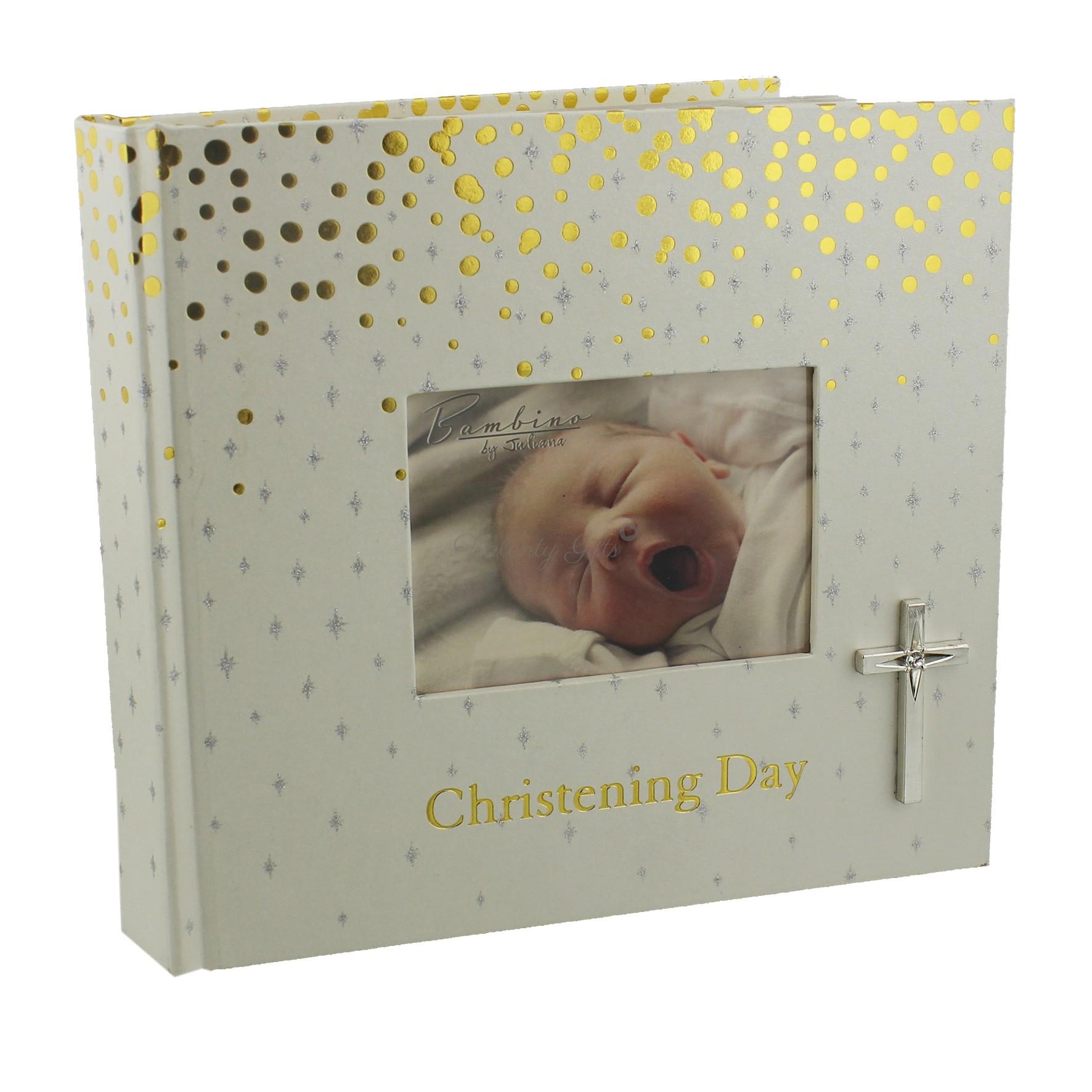 Албум за снимки от кръщене с кръстче и златист надпис