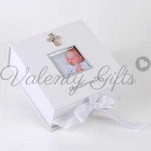 кутия със снимка и кръстче Кръщене