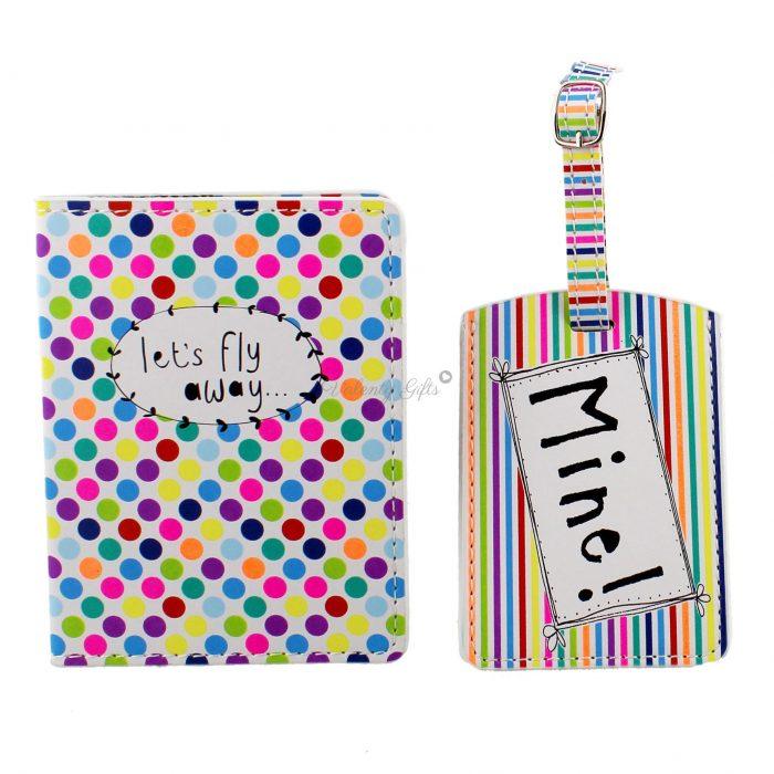 калъф за паспорт и етикет за багаж, цветен с надпис Let's Fly away и Mine