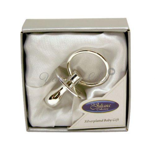 Посребрен биберон в луксозна кутийка