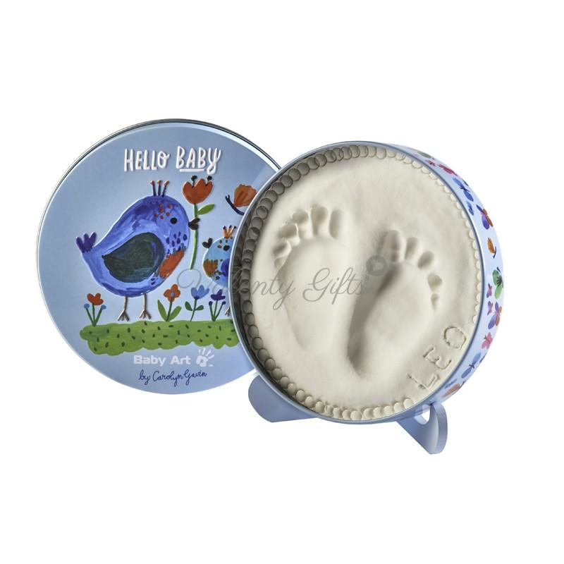 Кръгла кутийка за отпечатък от бебешки крачета синя с пиле