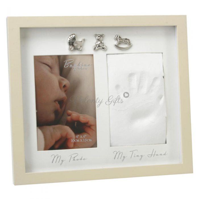 рамка за снимка и отпечатък, бяла с 3 сребърни фигурки и надписи My photo My tiny hand