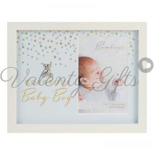 Рамка за снимка с надпис Gorgeous baby boy и сребърно мече
