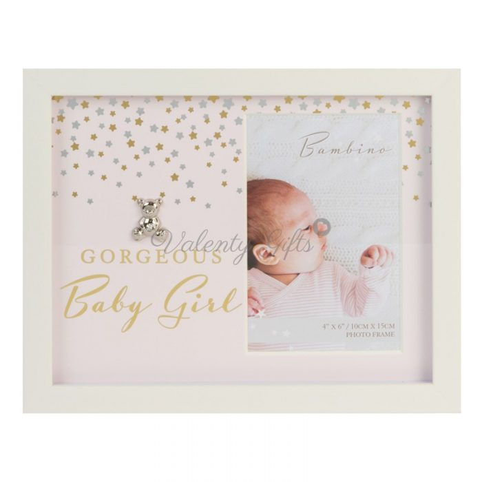 Розова рамка за снимка с мече и надпис Gorgeous Baby Girl