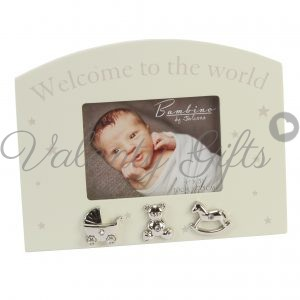 Рамка за снимка Welcome to the world, три сребърни фигурки с камъчета