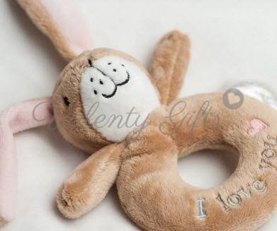 Дрънкалка зайче - кафяво плюшено с надпис I love you