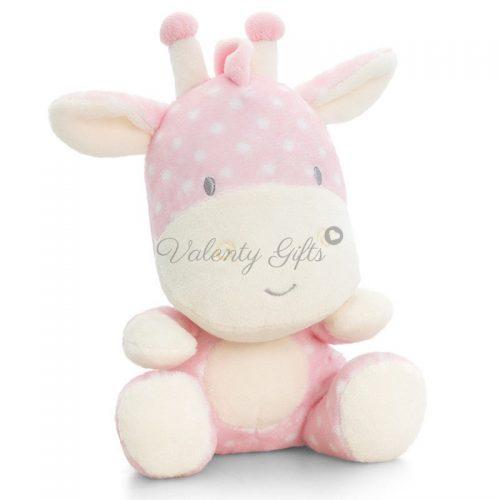 Плюшена играчка жирафче розово с бели точки