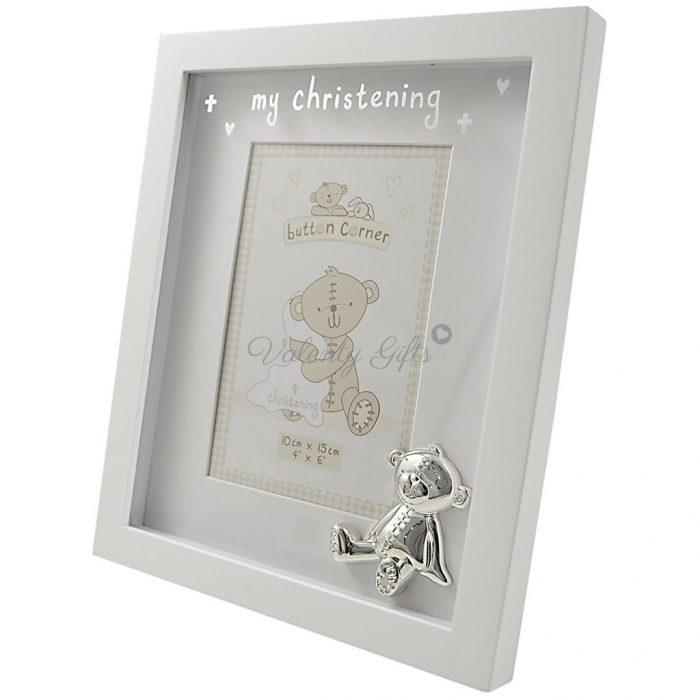 Бяла рамка за снимка с мече и надпис My Christening