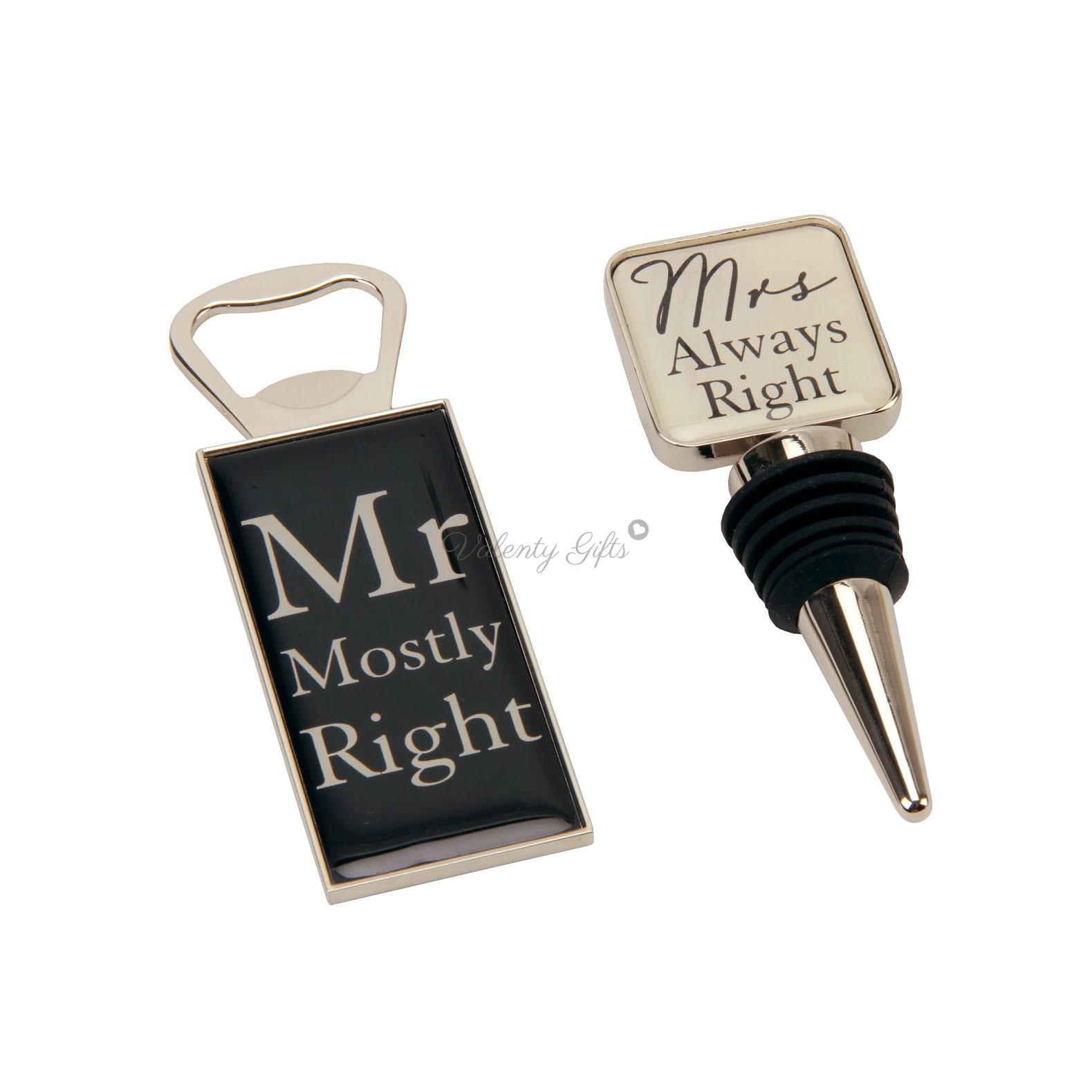 Отварачка за бира Mr Mostly right, стопер за бутилка Mrs always right