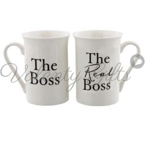 Две бели чаши с надпис The boss и The real boss