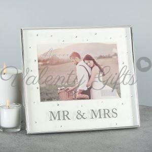 Луксозна рамка с надпис Mr. & Mrs. с блестящи камъчета