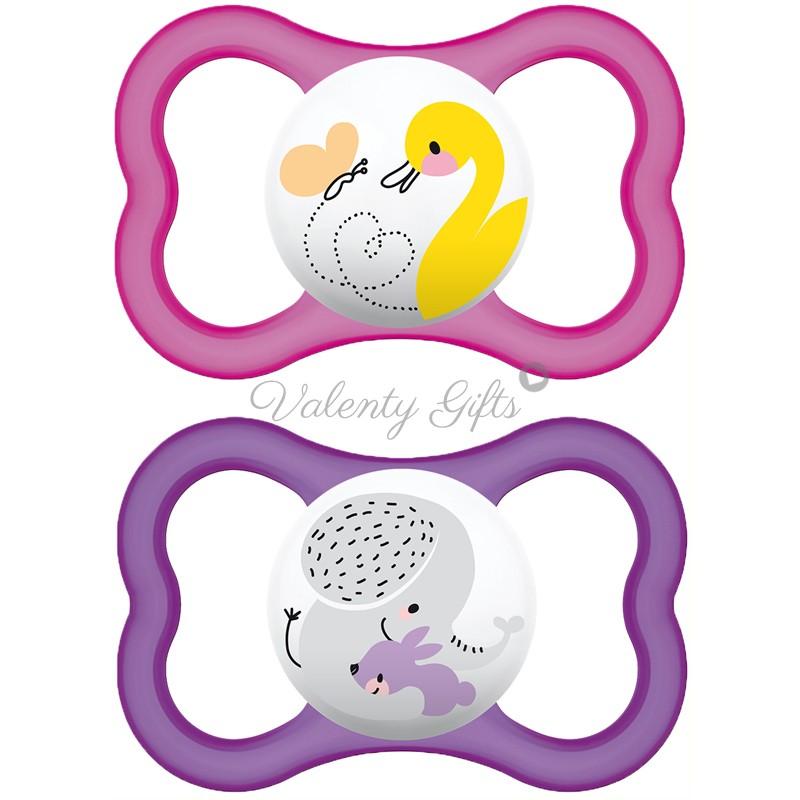 MAM Air, ббиберони за бебе 6+, 2 броя залъгалки в розово