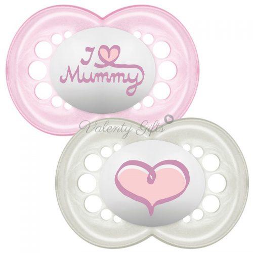 Залъгалки MAM I Love Mummy в розово 2 броя