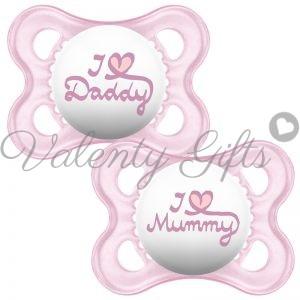 Розови биберончета MAM I love mummy I love daddy