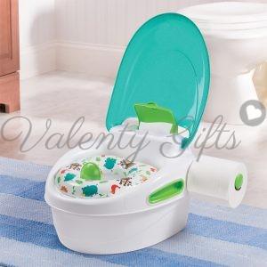 Бяло гърне с зелена седалка, зелен капак и място за тоалетно руло