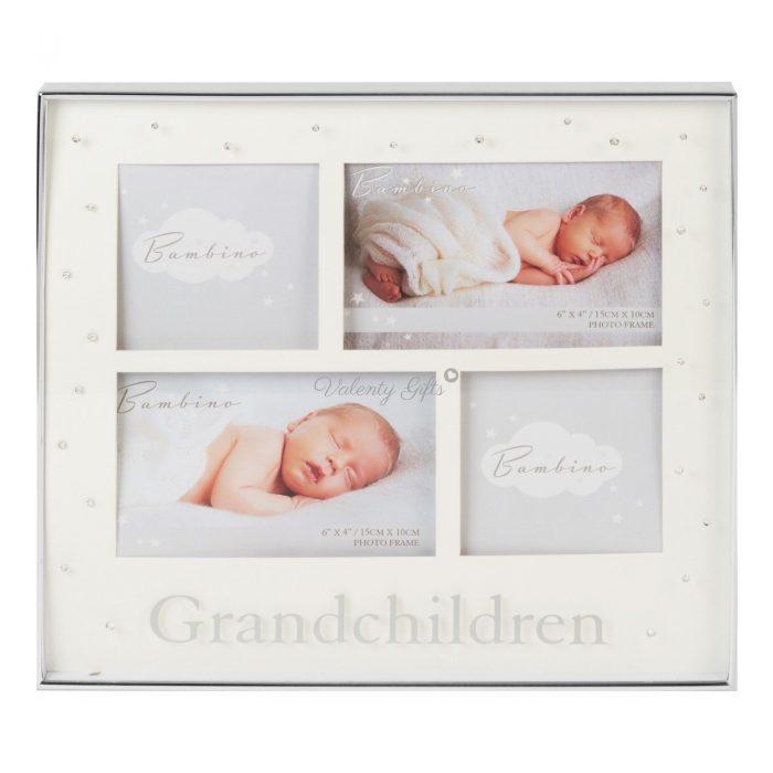 Рамка за 4 снимки и надпис Grandchildren Внуци с камъчета посребрена