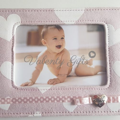 Бебешка розова рамка за снимка с надпис Baby и панделка