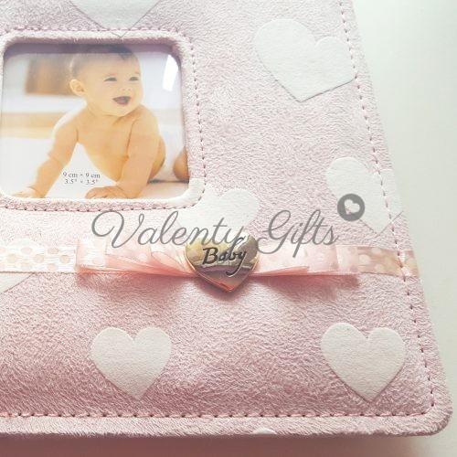 Албум за снимки със сърчице и розова панделка