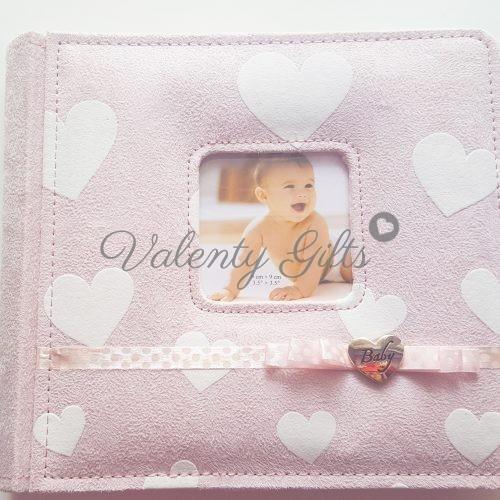 Розов албум със сърчица и панделка Baby