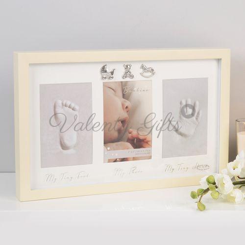 Рамка за снимка и отпечатъци Bambino, бяла със сребърни фигурки