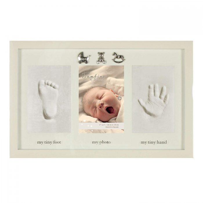 Бяла рамка за снимка и отливка на ръчичка и краче Bambino