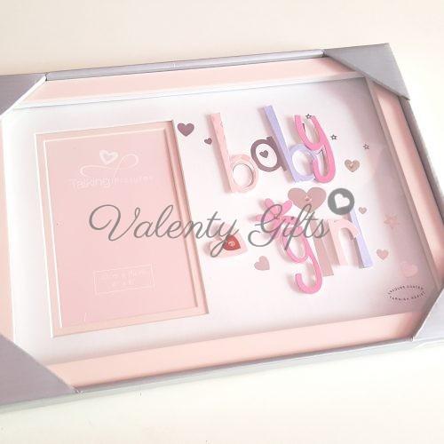 Розова бебешка рамка за снимка в кутия, с надпис Baby Girl