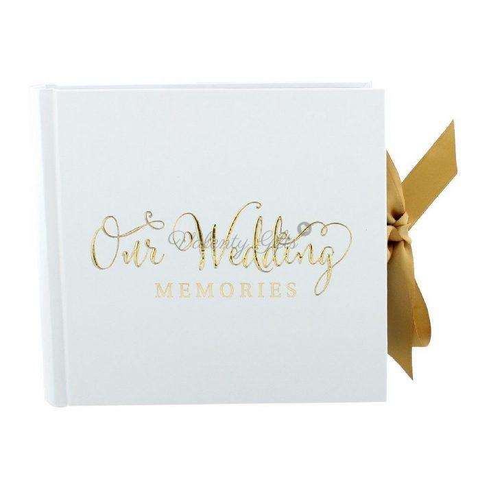 Албум-снимки-Our-wedding-memories-бял-с-панделка